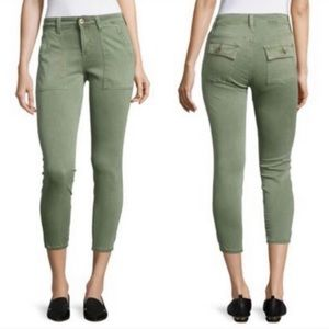 Pistola Mid Rise Army Green Crop Utility Pants